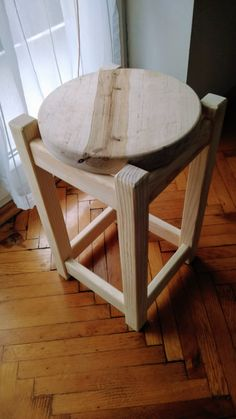 very simple pine and birch stool