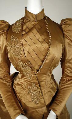 Dress Date: 1885–89 Culture: American Medium: (a) silk, cotton, glass; (b) silk, cotton, linen, wool, glass; (c, d) silk, cotton; (e) silk. Detail