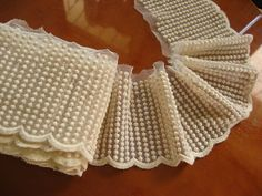 cream cotton lace trim  embroidered mesh lace with by QFabrics
