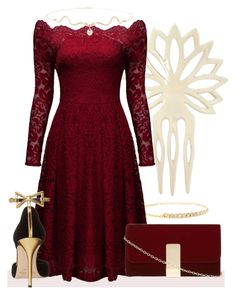 Festive by my-style-xo on Polyvore featuring polyvore, fashion, style, Oscar de la Renta, Dorothy Perkins, Sydney Evan, Yves Saint Laurent, clothing, contest, contestentry and under100