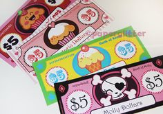 Paper Toy Money or Gift Certificate Printables by paperglitter    think I might use this as placeholder for actual money to get my oldest to stop spending and start saving