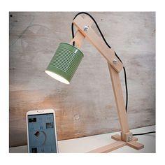 Lámpara sobremesa Tierra Verde madera reciclada y lata Euna Designs