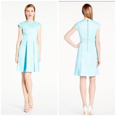 """Kate Spade Vail Dress Grace Blue A simple cotton dress with elevated details, the vail is an easy pick for special occasions. Bow seaming at the waist, darling box pleats and feminine cap sleeves create a woo-worthy look that is sure to garner more than one """"where'd-you-get-that?"""".  98% cotton 2% silk cap sleeve exposed back zipper fit and flare dress  Brand new with tag. Retail price $348.  Smoke free and pet free home. kate spade Dresses"""