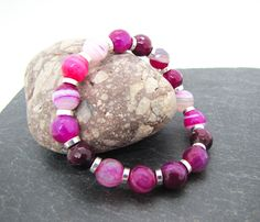 Pink Striped Agate stretch bracelet, fuchsia pink gemstone beads, facetted beads
