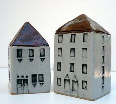 Miniature House Ceramic Sculpture Minimalist by BlueMagpieDesign, $45.75