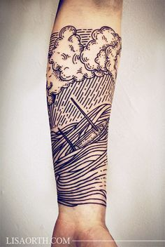 http://tattooideas247.com/linework-storm/ Linework Storm Sleeve #ARM, #Clouds, #Linework, #Ship, #Sleeve, #Storm