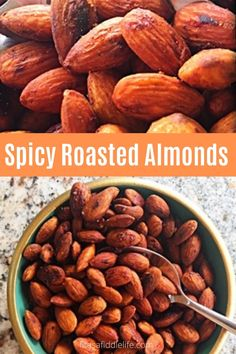 Making savory spicy roasted almonds is easy recipe. Perfect as an appetizer or keep on hand for a snack. fitasafiddlelife.com Easy Appetizer Recipes, Spicy Recipes, Appetizers, Salad Topping, Roasted Almonds, Health Snacks, Food Gifts, Recipe Using, Healthy Fats