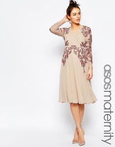 ASOS Maternity | ASOS Maternity Pleated Lace Placement Midi Dress at ASOS |  great for a pregnant bridesmaid