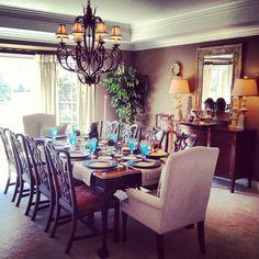 Dining room decor.  My moms dining room is just stunning!
