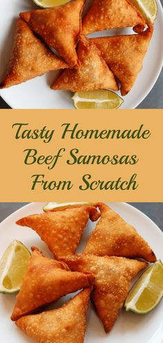 Delicious tasty homemade beef samosas, the best part is you can change it up and make them vegetarian if that's your preference. Easy Samosa Recipes, Meat Recipes, Indian Food Recipes, Appetizer Recipes, Snack Recipes, Cooking Recipes, African Recipes, Curry Recipes, Appetizers