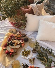 rustic outdoor picnic with fruit and wine and olive branches. Picnic Date, Summer Picnic, Beach Picnic, Summer Bucket, Summer Aesthetic, Aesthetic Food, Korean Aesthetic, Good Vibe, Rustic Outdoor