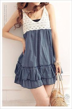 Crochet bodice on light denim ruffles -  inspiration