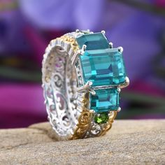 Capri Blue Quartz and Russian Diopside Ring in 14K Yellow Gold and Platinum Overlay Sterling Silver