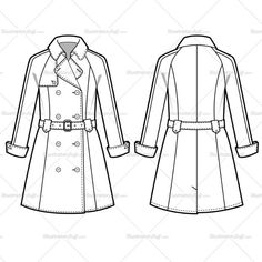 Women's knee level trench coat, long sleeves, double breasted, waist belt