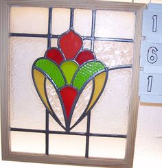 Old SASH!! Vintage Leaded English stained glass window in Antiques…