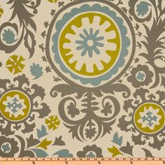 Premier Prints Suzani Summerland/Natural from @fabricdotcom  Not sure if it is yellow or yellowish green....