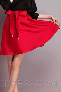 Solid Color Belt Bowtie Skirt 2