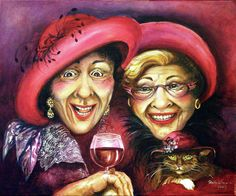 Trudy And Grace Play Dressup Painting by Shelly Wilkerson - Trudy And Grace Play Dressup Fine Art Prints and Posters for Sale