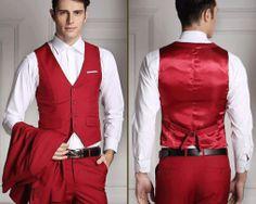 Štýlová pánska vesta ku obleku v červenej farbe