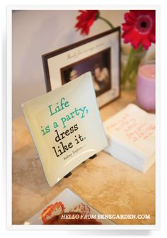 Ben's Garden | Life Is A Party Decoupage Glass Tray | bensgarden.com