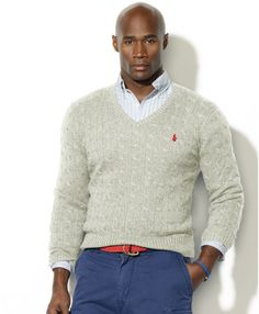 Ralph Lauren Cable Knit Silk V Neck Sweater in Gray for Men (light .
