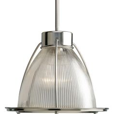 Progress Lighting 1-Light Brushed Nickel Pendant with Clear Prismatic Glass