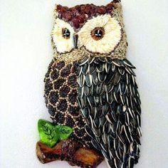 seed art owl for Pearl Pearl Liu Olevsky Owl Crafts, Diy And Crafts, Crafts For Kids, Arts And Crafts, Owl Mosaic, Mosaic Art, Seed Craft, Bean Seeds, Owl Art