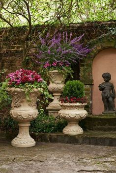 Provence Urns and Plinth Cast from an all-weather stone and resin composite, these chateau-inspired urns make a grand statement for a garden entryway or patio. Container Plants, Container Gardening, Vegetable Gardening, Organic Gardening, Gardening Tips, Brick Planter, Urn Planters, Porch Planter, Weather Stones