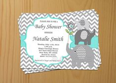 Baby Shower Invitation Elephant Baby Shower Invitation Boy Baby Shower Invitation Invites (01) - Free Thank You Card - Instant Download on Etsy, $10.00