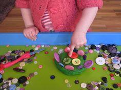 Play Dough & Buttons (great sensory play idea)
