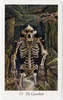 The Devil (The Guardian) - Wildwood Tarot by John Matthews, Mark Ryan, Will Worthington Wildwood Tarot, Tarot Major Arcana, Tarot Card Decks, Oracle Cards, Tarot Reading, Archetypes, Deck Of Cards, The Guardian, Devil