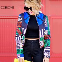 Greek Key Print Bomber Jacket Women Vintage Boho Windbreaker Autumn Coat New Multicolor Casual Zip Up Crop Jacket Oh Yeah Visit our store