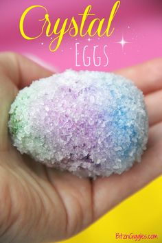 Crystal Eggs made with Epsom salt and clear glue - SO easy, but they turn out so pretty! Throw a few into a bowl for a decorative Easter or spring centerpiece and create a conversation piece! {BitznGiggles.com}