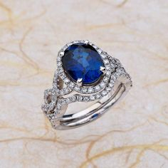 Halo Diamond Ring And Band Oval Lab Grown Sapphire Engagement