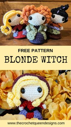 Blonde Witch - The Crochet Queen Designs - Hetty J. Blonde Witch - The Crochet Queen Designs - Cute Crochet, Crochet Crafts, Crochet Toys, Crotchet, Crochet Fall Decor, Autumn Crochet, Crocheted Animals, Crochet Beanie, Crochet Disney