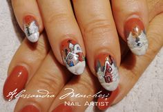 Christmas houses, so wintery! Nail art by Alessandra Marchesi Nail Designer, inspired by an artwork by Emilio Villalba.