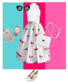 """""""flamingo fashion """" by hiyomi on Polyvore featuring ファッション, Christian Louboutin, Casetify, WearAll, Chicwish, Quay と Chanel"""
