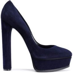 CASADEI Suede platform pumps (1.355 BRL) ❤ liked on Polyvore featuring shoes, pumps, slip-on shoes, suede block heel pumps, casadei pumps, almond toe platform pumps and slip on pumps