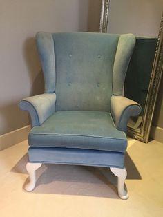 Original Parker Knoll wing back arm chair, upholstered in designers guild velvet