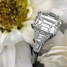 Emerald Cut Diamond Ring. Think I love this! With the platinum :)