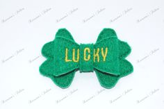 UNCUT 3D bow, St Patrick's Day embroidered felt embellishment feltie by Keirstensfelties on Etsy