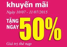 Viettel khuyến mãi 50% giá trị thẻ nạp trong 2 ngày 10-11/07/2015 - 3G Viettel
