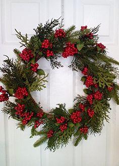 Artificial Cedar Red Berry Winter Door Wreath 20 Inch Wre... https://www.amazon.com/dp/B01LR8JYWI/ref=cm_sw_r_pi_dp_x_sILjyb33T9SR1