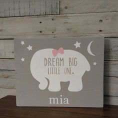 Dream big little one personalized elephant canvas personalized baby dream big little one elephant decor wooden by chalkitupdecornmore negle Images