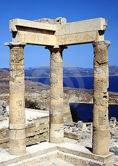 The Acropolis in Lindos greece looking out over the bay