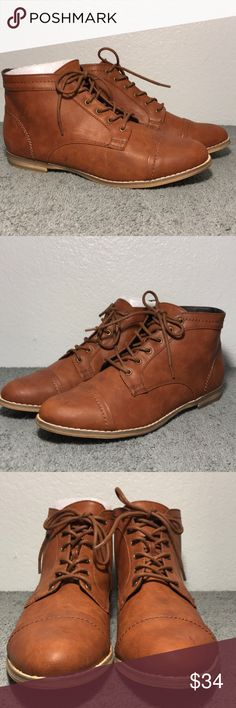 "indigo rd. Harts Lace-Up Oxford Flat Cognac Boot New in box. Verify pics to see condition. .75"" Heel Indigo Shoes Lace Up Boots"