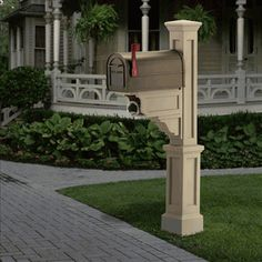 Mayne Dover New England Styled Mail Post in Clay Tan, Traditional Cheap Mailboxes, Residential Mailboxes, Mailbox Post, Mailbox Ideas, Mailbox Landscaping, Landscaping Ideas, Wooden Posts, New England Style, Outdoor Living