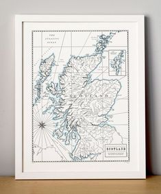Scotland Letterpress Printed Map Dark Grey by QuailLanePress