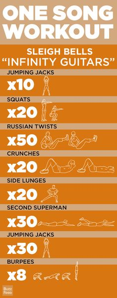 """Daily Challenge: One Song Workout! - Today's workout is quick & intense. Go through the circuit while bumping Sleigh Bells """"Infinity Guitars""""! Pilates Workout, Fitness Workouts, One Song Workouts, Workout Songs, Sport Fitness, Fitness Diet, At Home Workouts, Health Fitness, Tabata"""