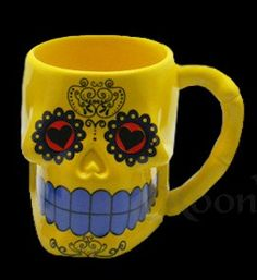 Mug, Day of the Dead Skull Face Yellow